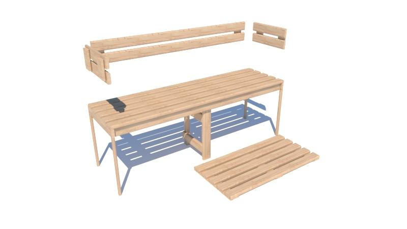 Bancos, respaldos y tablillas de suelo para sauna
