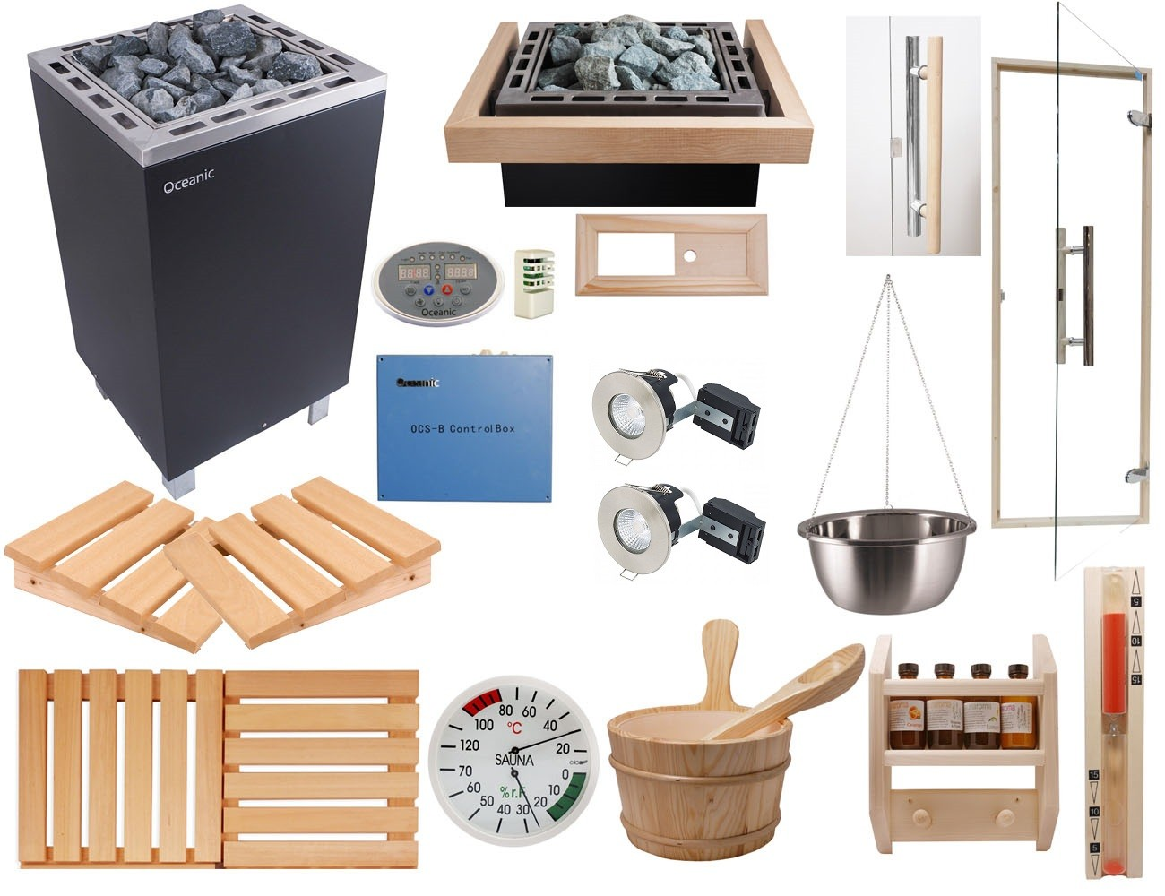 Deluxe Home Sauna Kit with Apollo Sauna Heater & OCSB Controls