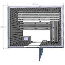 Bench layout for Saunarium cabin D2535