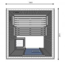 Cabina de sauna finlandesa, 5 personas, uso comercial intensivo, calentador con patas, HD3030FS