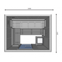 Cabina de sauna finlandesa, 7 personas, uso comercial intensivo, calentador con patas, HD3040FS