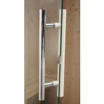Tirador doble, cromo y madera, puerta de sauna Oceanic