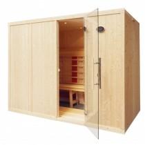 Cabina de sauna con infrarrojos, bancos en L - uso comercial - 5 personas - IR2040L