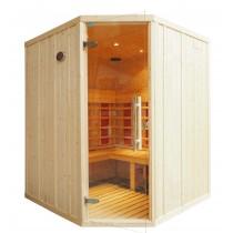 Cabina de sauna infrarrojos - 4 personas - bancos en L y puerta de esquina - IR2525LC