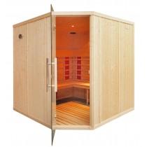 Cabina de sauna con infrarrojos, bancos paralelos, puerta de esquina - uso comercial - 4 personas - IR3030LC