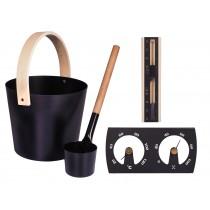 Cubo y cazo de sauna, Loyly, de aluminio y madera