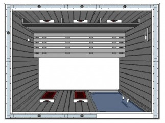 IR2025 3 person Home Infrared Sauna Technical Drawing