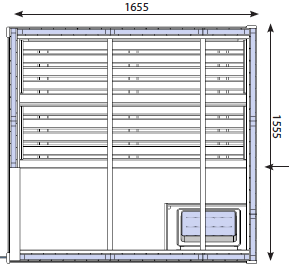D2525 3 person traditional sauna cabin technical drawing
