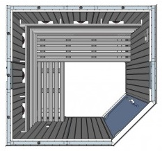 IR2525LC 4 person Home Infrared Sauna Technical Drawing