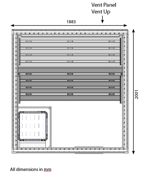 HD3030FS commercial 5 person sauna technical drawing