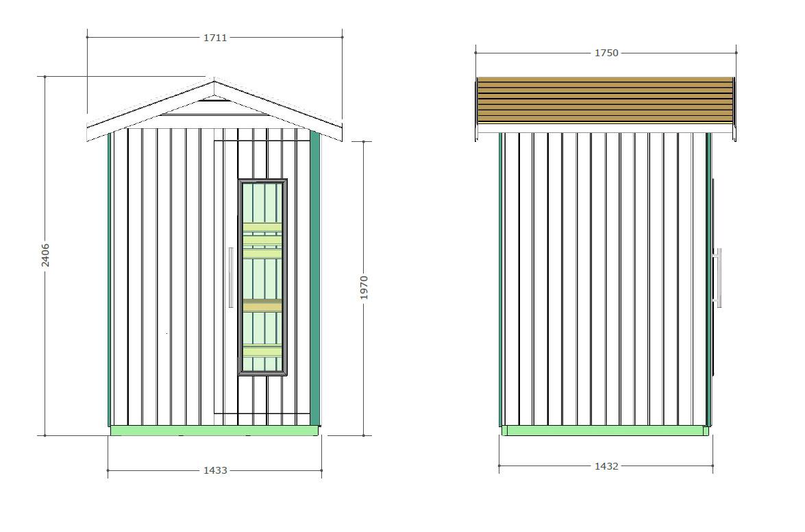 Sauna para el exterior Oceanic E2020 - Diseño técnico