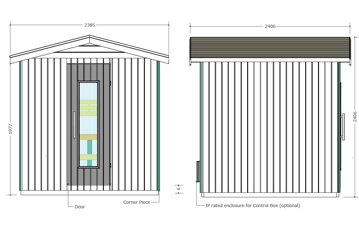 Sauna para el exterior Oceanic E3030 - Diseño técnico