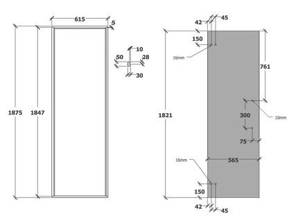 Sauna door size and dimensions (615mm)