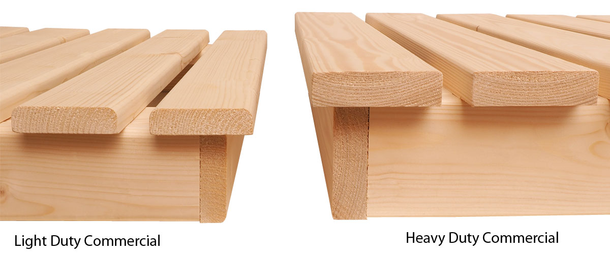 Bench timber thickness comparison